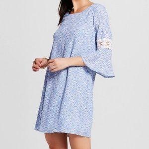 Lux II blue shift dress crochet lace bell sleeves